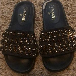 Chanel navy blue chain slide size 37. 3a25b6aaa5